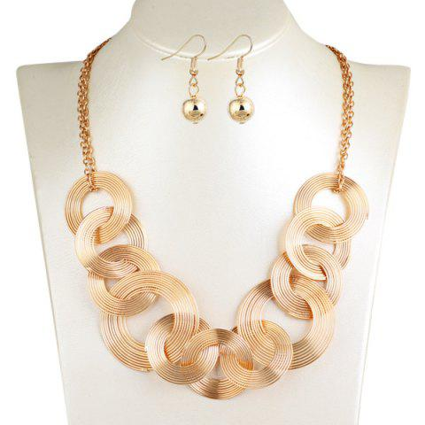 Fashion Hollowed Circle Metallic Jewelry Set - GOLDEN  Mobile