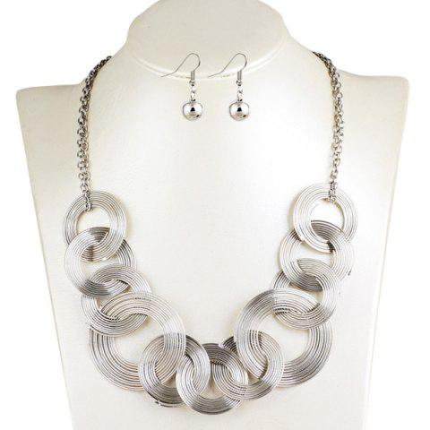 Cheap Hollowed Circle Metallic Jewelry Set - SILVER  Mobile