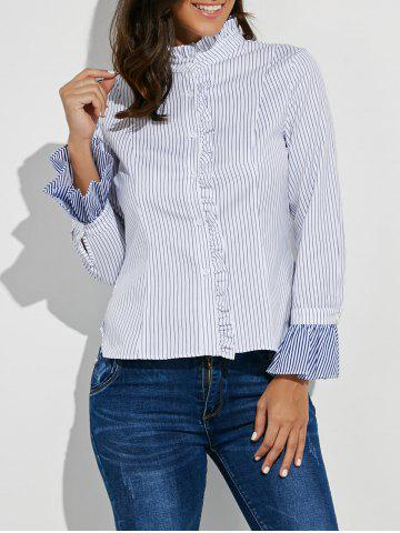 Chic Button Up Ruffle Stripe Shirt