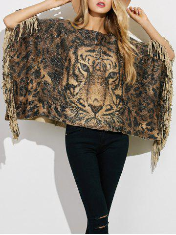 Tiger 3D Print Fringe Knit Poncho - COFFEE ONE SIZE