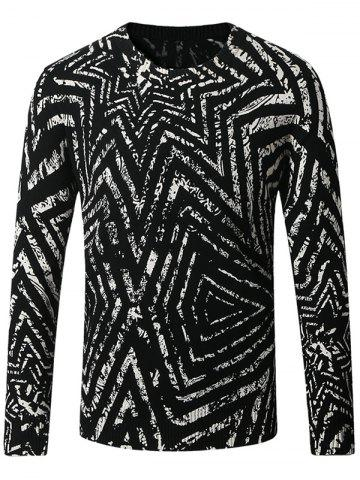Fancy Thicken 3D Geometric Long Sleeve Sweater BLACK 4XL