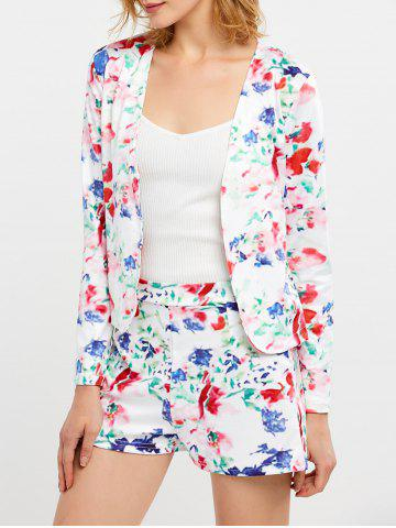 Chic Floral Print Business Suit with Shorts WHITE S