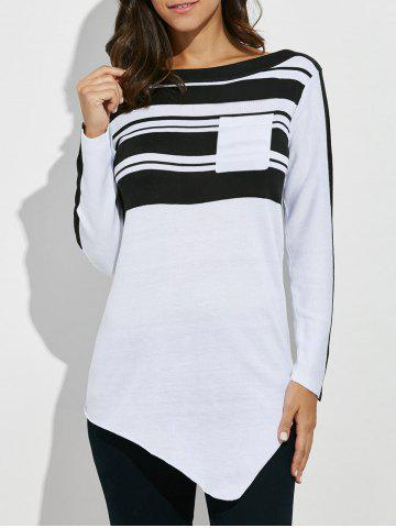 Striped Asymmetric Pocket Tunic T-Shirt