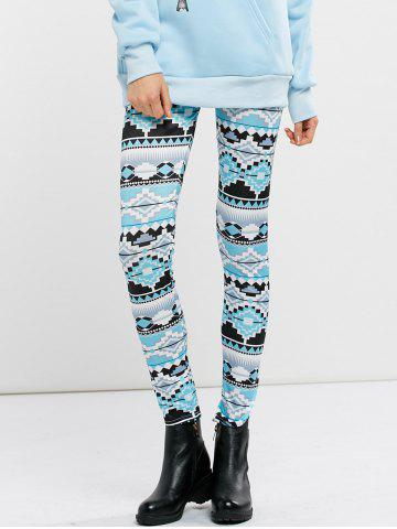 High Waist Stretchy Geometric Print Leggings - Cloudy - S