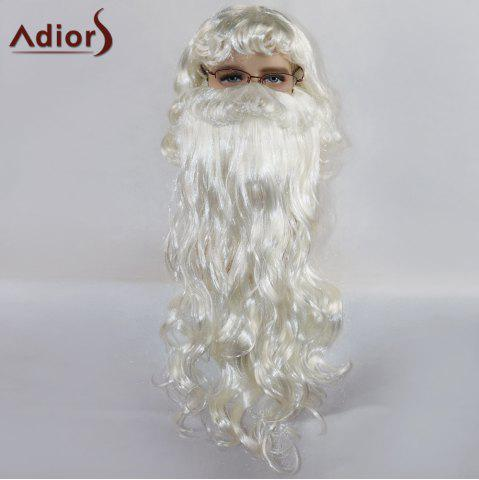 New Adiors Party Christmas Santa Claus Cosplay Synthetic Beard and Wig Set - WHITE  Mobile