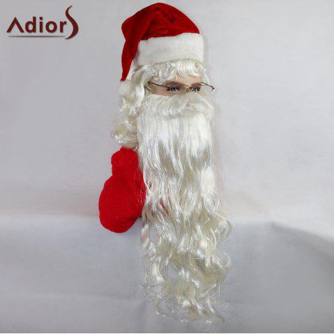 Affordable Adiors Party Christmas Santa Claus Cosplay Synthetic Beard and Wig Set - WHITE  Mobile