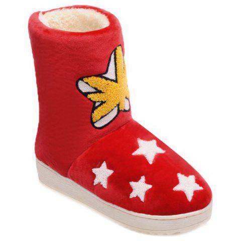 Chic Stars Flock Platform Snow Boots RED SIZE(35-36)