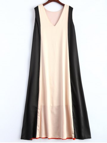 Sale V Neck Color Block Trapeze Maxi Dress