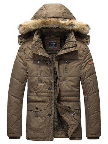 Outfits Flap Pocket Zip Quilted Jacket with Fur Trim Hood