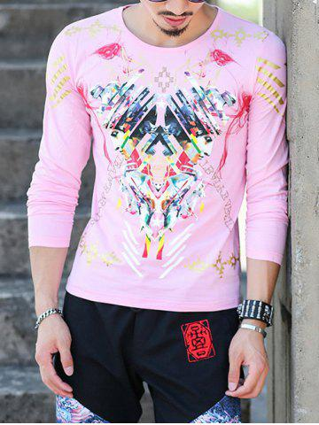 Online Round Neck Long Sleeve All Over Printed Tee PINK 4XL