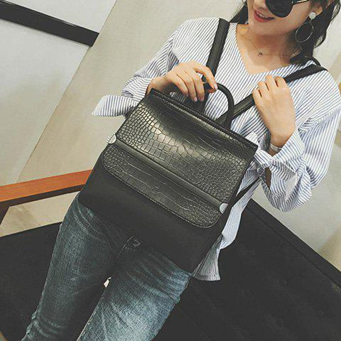 Outfits Crocodile Embossing Flap Backpack