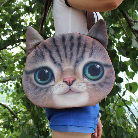 Buy Cat Head Shaped 3D Print Shoulder Bag