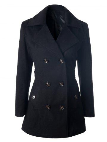 Unique Self Tie Double Breasted Pea Coat