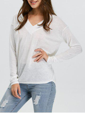 Hot V-Neck Long Sleeve Knitted Tee