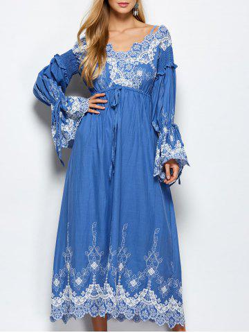 Floral Embroidered Midi Long Sleeve Swing Dress