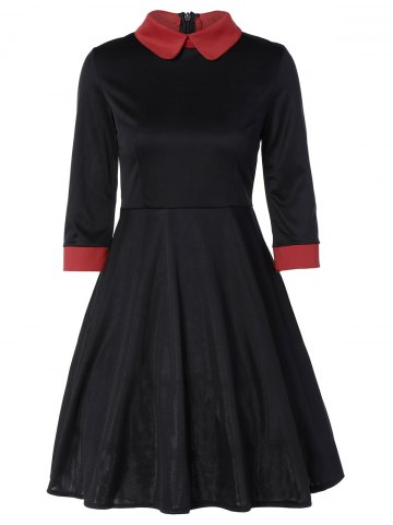 Best Panel Peter Pan Collar Midi Swing Dress BLACK L