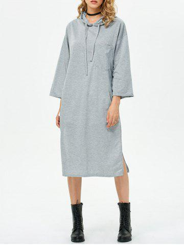 New High Slit Shift Midi Hoodie Dress