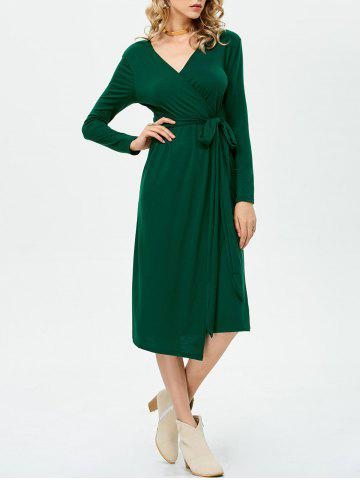 Sale V Neck Asymmetric Midi Wrap Dress