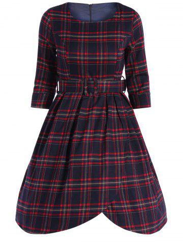 Cheap Plaid Belted High Low Vintage Dress