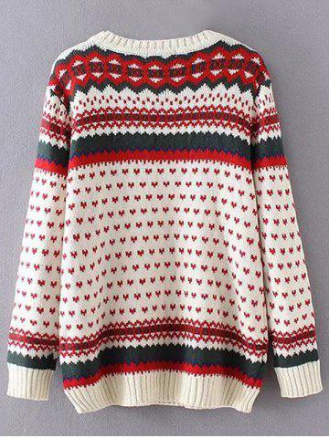 Outfit Heart Print Plus Size Sweater - 3XL OFF-WHITE Mobile