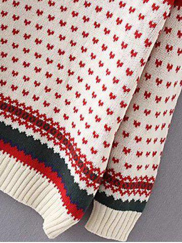Trendy Heart Print Plus Size Sweater - 3XL OFF-WHITE Mobile