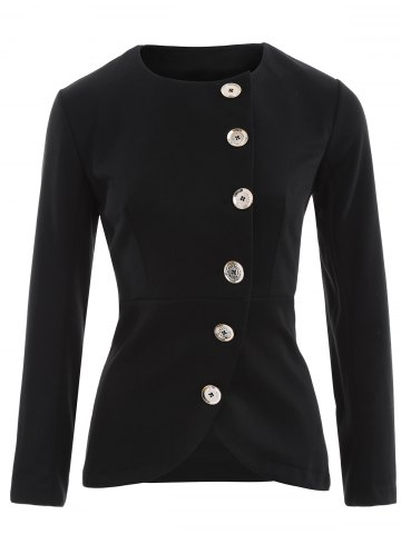 Sale Asymmetric Button Up Blazer BLACK 2XL