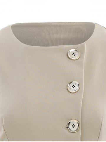 Cheap Asymmetric Button Up Blazer - APRICOT XL Mobile