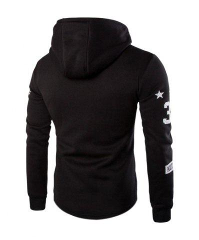 New Casual Splicing Zipper Hoodie For Men - L BLACK Mobile