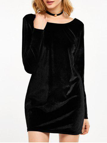 Velvet Long Sleeve Backless Bodycon Dress - Black - S