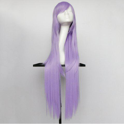 Chic Overlength Oblique Bang Glossy Straight Synthetic Cosplay Anime Wig - LIGHT PURPLE  Mobile