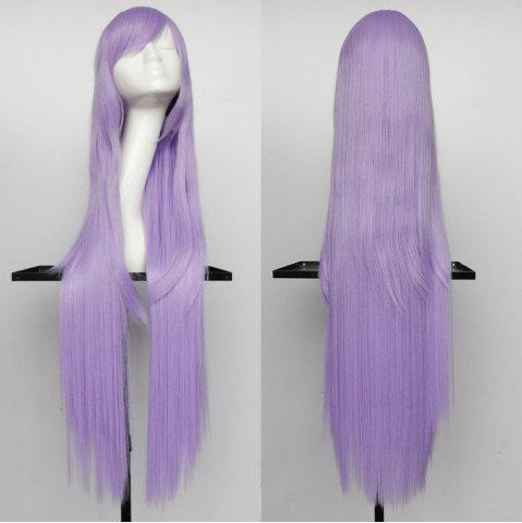 Hot Overlength Oblique Bang Glossy Straight Synthetic Cosplay Anime Wig - LIGHT PURPLE  Mobile
