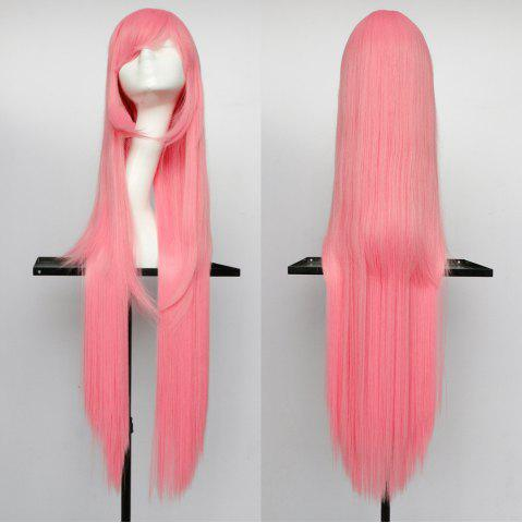 Chic Overlength Oblique Bang Glossy Straight Synthetic Cosplay Anime Wig SHALLOW PINK