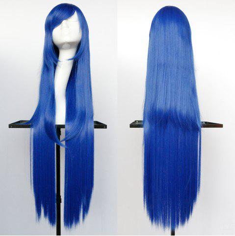 Overlength Oblique Bang Glossy Straight Synthetic Cosplay Anime Wig - Blue