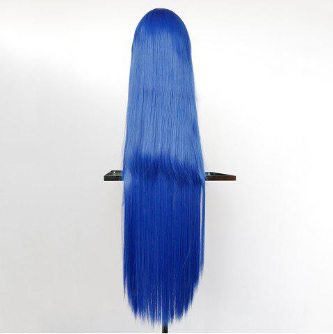Trendy Overlength Oblique Bang Glossy Straight Synthetic Cosplay Anime Wig - BLUE  Mobile