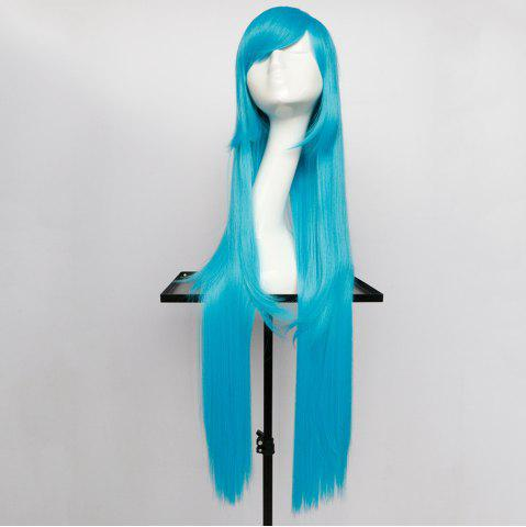 Buy Overlength Oblique Bang Glossy Straight Synthetic Cosplay Anime Wig - TURQUOISE  Mobile