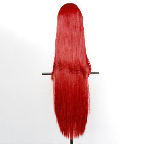 Latest Overlength Oblique Bang Glossy Straight Synthetic Cosplay Anime Wig - BRIGHT RED  Mobile