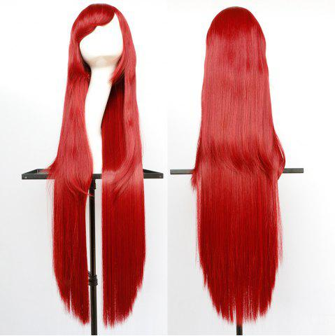 Unique Overlength Oblique Bang Glossy Straight Synthetic Cosplay Anime Wig - BRIGHT RED  Mobile