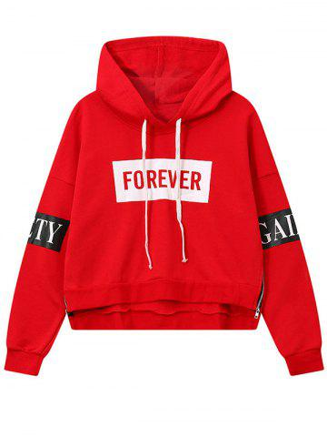 Hot High Low Side Zipper Graphic Patched Short Hoodie