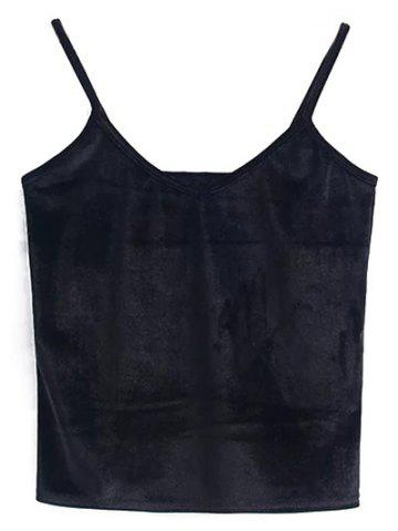 Unique Cami Cropped Velvet Tank Top BLACK ONE SIZE