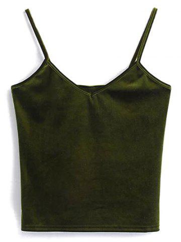 Cheap Cami Cropped Velvet Tank Top OLIVE GREEN ONE SIZE