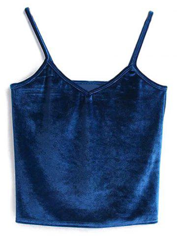Outfits Cami Cropped Velvet Tank Top PEACOCK BLUE ONE SIZE