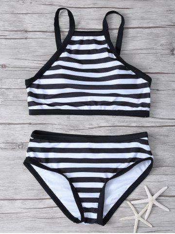 Sale High Neck Striped Bikini Set