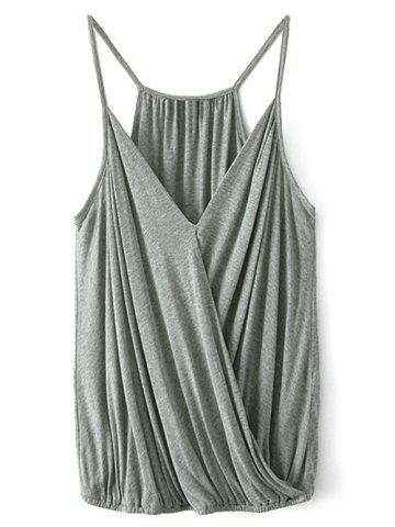 Spaghetti Straps Wrap Top - GRAY L