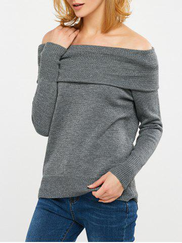 Cheap Convertible Off The Shoulder Sweater GRAY 2XL