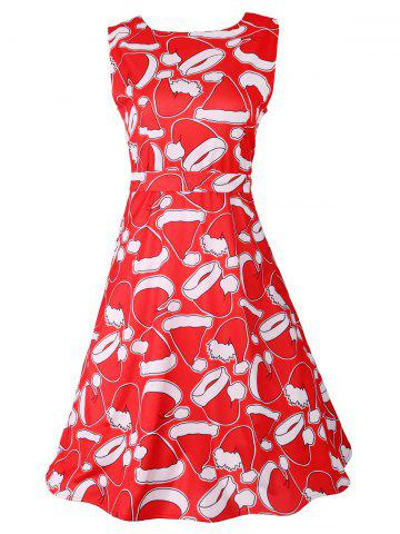 Outfits Santa Hat Christmas Sleeveless Party Dress RED S