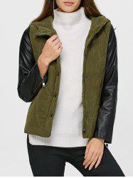 PU Leather Trim Hooded Padded Jacket -