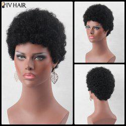 Ultrashort Fluffy Curly Real Natural Hair Wig - JET BLACK