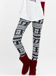 Elk Snowflake Print High Waist Leggings