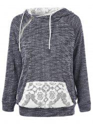 Lace Trim Kangaroo Pocket Hoodie - GREY/WHITE XL