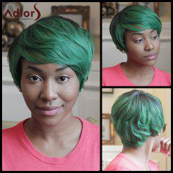 Adiors Fluffy Straight Side Bang Mixed Color Short Synthetic Wig